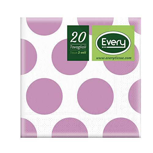 Every E243-D103 Tissue Tovagliolo, Carta, Lilla, 24x24 cm, 20 unità