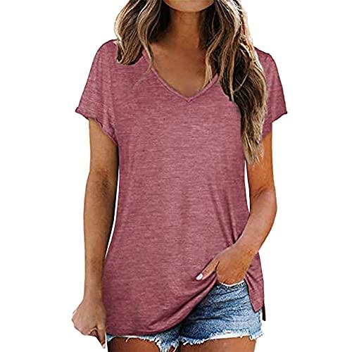 PRJN Tops de algodón para Mujer Camiseta Informal con Cuello Redondo Blusa Camisetas para Mujer Cuello Redondo Camiseta Deportiva básica Suelta Camiseta de Manga Corta para Mujer Color sólido