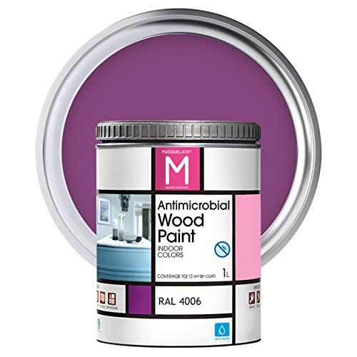 Pintura para Madera | 1 L | Pintura Interior RAL 4006 | Laca para Madera Antimicrobios | Protege y Embellece la Madera de los Muebles | Aspecto Cálido y Satinado | Color Púrpura tráfico