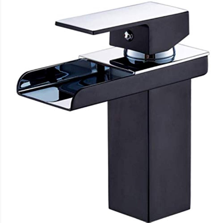 Copper Black Single Hole Waterfall Faucet hot and Cold Basin wash Basin Faucet Bathroom Bathroom