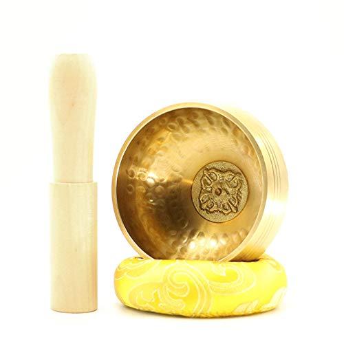 Juego de cuenco tibetano de meditación, cuenco de meditación fundido a mano, cuenco de música de latón metálico con martillo y cojín de alambre de martillo, utilizado para la curación y la atención