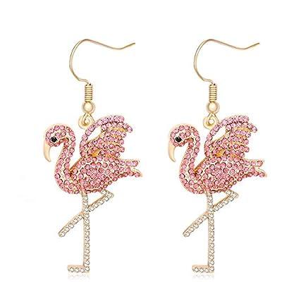 MANZHEN Pink Rhinestone Flamingo Bird Dangle Earrings (gold)