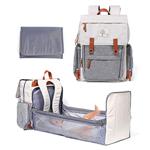 Diaper Bag Backpack with Bassinet Foldable Large Baby Bed with Changing Pad...