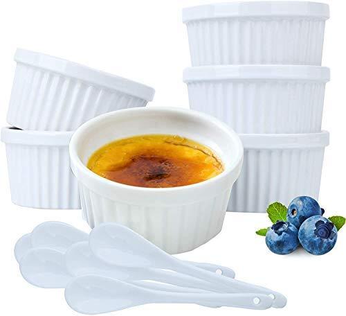 Plato de souffle Ramekin para hornear – 8 onza 4 pulgadas de cerámica seguro para horno tazón de ramekin redondo con 6 cucharas extra para creme Brulee postres pudines de crema helado pastel de lava