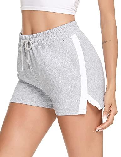 Wayleb Kurze Frauen Sommer Baumwolle Shorts Sweatpants Frauen bequem mit 2 Taschen weiche Pyjama-Shorts mit Stretch Kordelzug Jogging Gym Schlaf Grau XXL