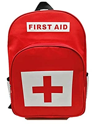 Red First Aid Bag Empty, Jipemtra First Aid Backpack Empty First Aid Pouch Small Mini Waterproof for First Aid Kits Pack Emergency Hiking Backpacking Camping Travel Car Cycling (Red Backpack) by Jipemtra
