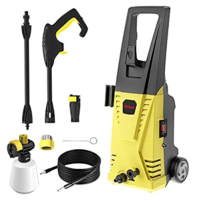 Rrtizan Pressure Washer 2030 MAX PSI 1.76 GPM Electric Pressure Washer 1500W Cleaner Machine with Adjustable Nozzle, Spray Gun, Hoses, Detergent Tank, for Cleaning Cars, Driveways, Patios (Yellow)