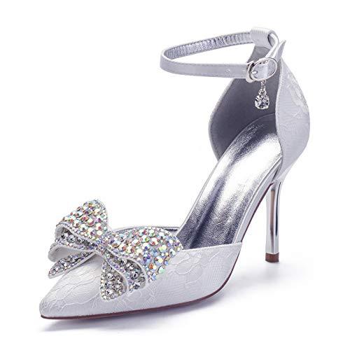 Gycdwjh Sexy Novia Tacones Altos, Asakuchi Cordón Zapatos de Novia para Mujer con Bowknot Decoración 9cm Zapatos de Tacón para Ropa de Banquete Diaria,Blanco,35 EU