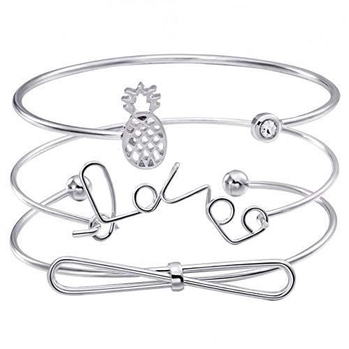 MHOOOA Trendige Frauen Silber Farbe Herz Armreifen Sets Ananas Charme Armbänder Metall Armbänder Set Für Frauen