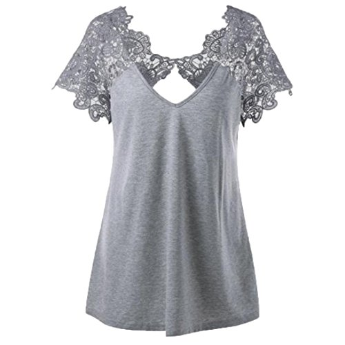 Womens T-Shirt Fashion Blouse V-Neck Plus Size Lace Short Sleeve Trim Cutwork Tops Gray