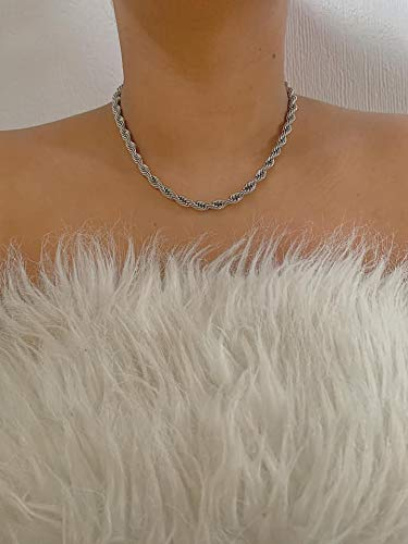 Handmade Ombre Dual Tone Silver Stainless Steel and Gold Plated Rope Chain Necklace
