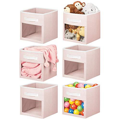 mDesign - Caja organizadora de almacenamiento de tela suave, ventana transparente y asa, para habitación de niños/niños, guardería, sala de juegos, muebles, estante, 6...