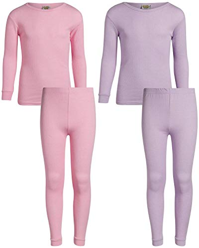 Sweet & Sassy Girl's 2-Pack Thermal Warm Underwear Top and Pant Set-Medium Pink/Lavender-6x