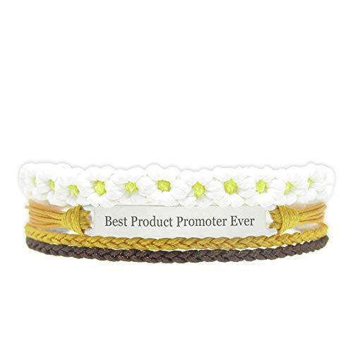 Miiras Trabajo Pulsera Hecha a Mano para Mujer - Best Product Promoter Ever - Wit Geel FL-YL - Hecho de Cuerda Trenzada y Acero Inoxidable - Gift for Product Promoter