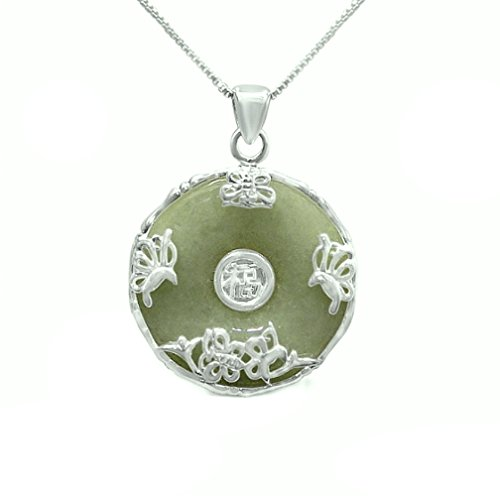 """SILVER EMPIRE Jewelry: Sterling Silver Necklace Donut (Pi) Shape Natural Green Jade Lucky Charm with Happiness Blessing Word Comes with 17"""" Sterling Silver Box Chain"""