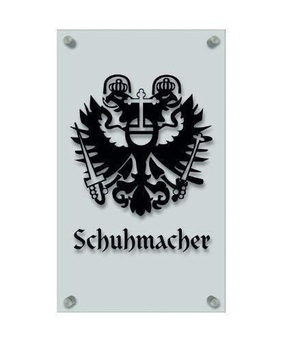 Zunft- Schild - Handwerker-Zeichen, edle Acryl-Kunststoff-Platte mit Beschriftung - Schuhmacher - in gold, silber, schwarz oder weiß - 309419 Farbe schwarz