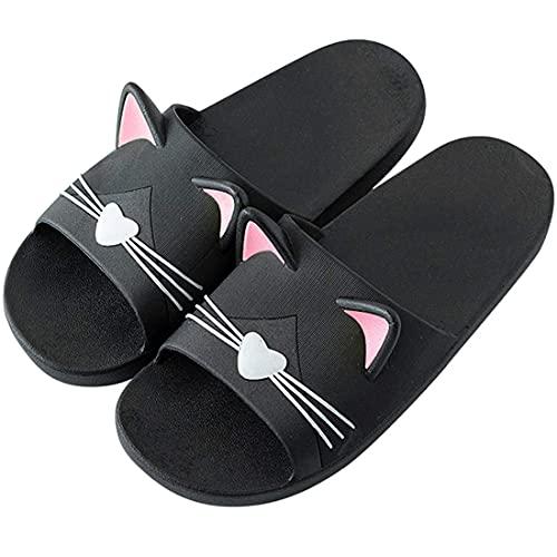 AioTio Femmes Chaussons Mules Eté Maison Douche et Bain Chaussures Sabots Tongs Sandales Plates Antidérapantes Plage et Piscine Pantoufles pour Fille(Noir, 39/40 EU)