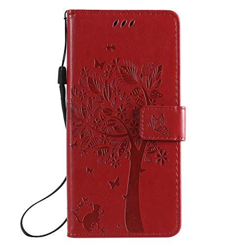 TOPOFU Funda para iPhone 13, Patrón de Mariposa en Relieve del Gato del Arbol Billetera de Cuero de la PU Flip Magnético Carcasa para iPhone 13-Oro Rosa