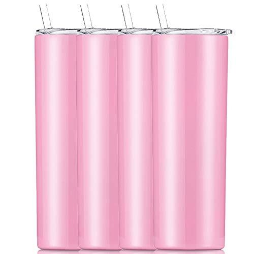 Gteller Doble pared 18/8 de acero inoxidable al vacío delgado vaso delgado con paja y tapa, taza de viaje aislada que mantiene la bebida fría y caliente (rosa, paquete de 4 - 20 onzas)