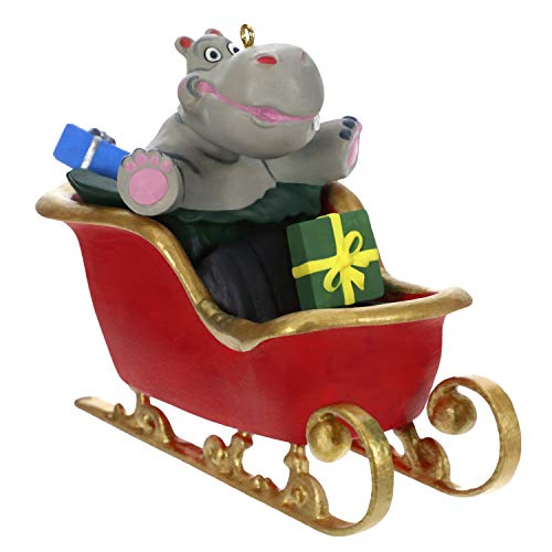Hallmark Keepsake Ornament 2019 Year Dated Hippo in Sleigh Musical (Plays I Want a Hippopotamus for Christmas Song)