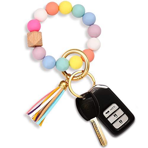 Silicone Bead Keychain Bracelet Large Keyring Elastic House Car Key Ring Wristlet Bangles(Rainbow)