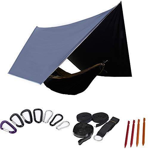 CHUDAN Bâche de Tente de Camping Anti-UV Bâche imperméable de Tente de Mouche de Pluie d'hamac de Ripstop, abri de Camping léger portatif