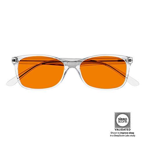 Swanwick Computerbrille mit orangefarbenem SCT-Objektiv – Blaulichtfilter für UV-Schutz, Keine Belastung der Augen – Anti-Blaulicht Brille schwarz Crystal Swannies: Diamond XL Large