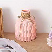 花瓶 現代のプラスチック花瓶の家の装飾ヨーロッパの模造陶磁器の籐の花の配置北欧の結婚式の装飾 (Color : Pink A)