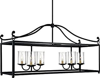 Feiss F2971/6AF Declaration Glass Candle Island Chandelier Lighting, Iron, 6-Light (41