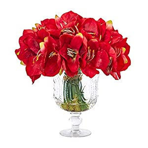 Nearly Natural A1054-RD 14in. Amaryllis Bouquet Artificial Royal Vase Silk Arrangements, Red