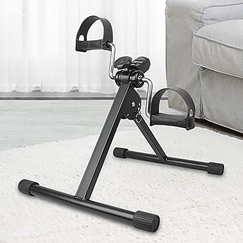 Ejercitador de pedal plegable, mini bicicleta estática con resistencia ajustable, Entrenador de Pies y Manos para gimnasio en casa/Black/B