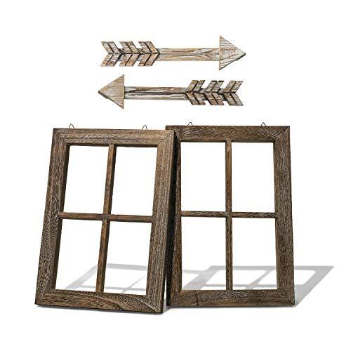 Rustic Wall Decor Wood Window Frames & Arrow Decor - Farmhouse Decoration for Home (11X15.8 inches, 2set)