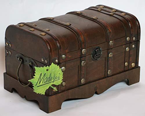 Made for us Holz-Truhe Schatz-Kiste Piraten-Truhe Geld-Truhe für Jubiläum Hochzeit Aussteuer braun 35 x 21 x 20 cm original