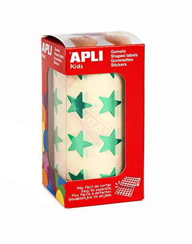 Oferta de APLI Kids - Rollo de gomets estrella grande, verde metalizado