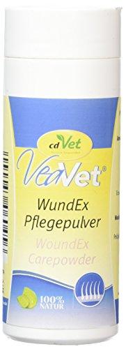 cdVet Naturprodukte VeaVet WundEx verzorgende poeder, 70 g, hond, kat, paard, verzorging + vochtbinding, gestrest + wondgeplakte + eczeem neigende huidplekken - absorbeert en bindt -