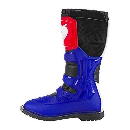 O\'NEAL | Motocross-Stiefel | MX Enduro | Sohlenschutz aus Metall, Dank Air-Meshgewebe, leicht verstellbare Verschlussschnallen | Rider Boot EU | Erwachsene | Blau Rot Weiß | Größe 42/9