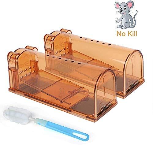 Upwinning Mausefalle Lebend, lebendfalle Maus, 2er Set no Kill mäusefalle mit Reinigungsbürste für Den Innen- und Außenbereich, Haustiere und Kinderfreundlich, Wiederverwendbare – Braun