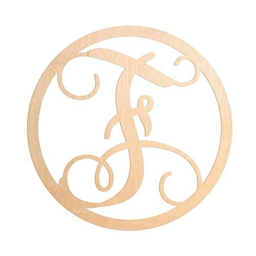 UNFINISHEDWOODCO Single Letter Circle Monogram-F, 19-Inch, Unfinished