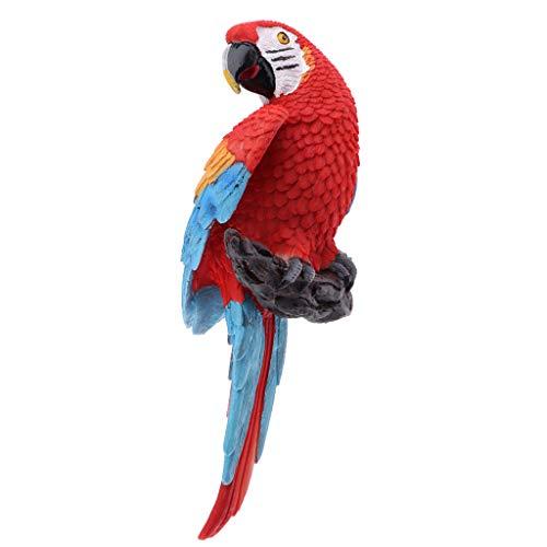 Perfeclan Papagei Ara Dekofigur für Balkon, Zaun, Baum Terrasse und Garten Deko