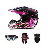 LEENY Casco de Motocross - Cascos de Motos con Gafas Guantes Máscara - Cuatro Estaciones Unisex, Cascos de Cross Motocicleta Off-Road Enduro Cascos para Adulto Hombres Mujeres,Rosado,S