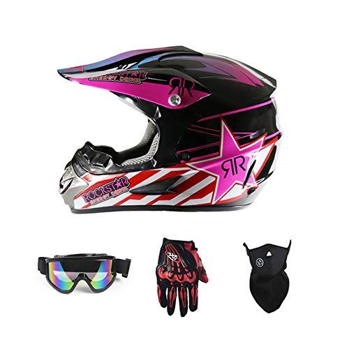 LEENY Motocross Helm Herren Crosshelm mit Brille Handschuhe Maske Vier Jahreszeiten Unisex, Motorradhelm DH Enduro Quads Motorrad Offroad-Helm für Erwachsene Männer Frauen,Rosa,L