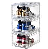 ROUOHUD Caja de Zapatos de acrílico para Zapatos, Caja de Almacenamiento de Zapatos para Hombres y Mujeres, Caja de exhibición de Zapatos, Organizador apilable(Size:pequeña,Color:6pcs)