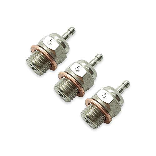 TCA Racing Standard Glow Plug / BUJIAS RC Short Thread T5 - 1/8-1/10 Scale RC Cars, GO, KYOSHO, OS, Thunder Tiger Engines - 3 Pcs