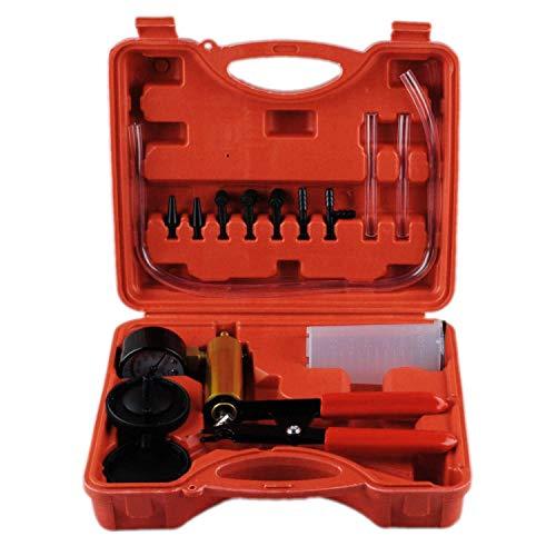 Wadoy Vakuum Pumpe Bremsflüssigkeit Druck Bremsenentlüftung Bremsflüssigkeit Vakuum Professioneller 2-in-1-Werkzeug-Kit Staubsauger-Prüfgerät für Auto Motorrad (Rot)