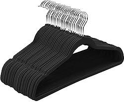 stack of black velvet hangers