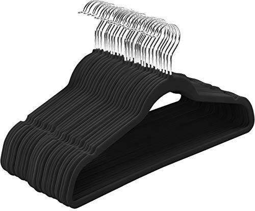 Utopia Home Premium Velvet Hangers - Pack of 50 - 360-degree rotatable Hook - Durable & Slim - Non Slip Hangers for Coat Hangers - Pant Hangers - Black