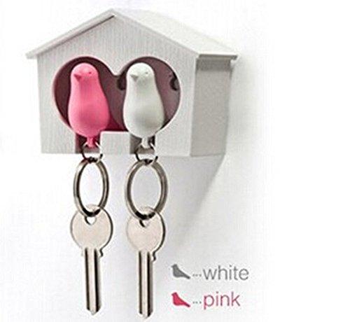 ANKKO Paar Mussen Vogel Sleutelhangers Sleutelhanger Ring Fluitje Vogelhuis Sleutelhouder (Groen en Wit) Roze en Wit