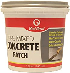 Pre-mixed concrete patch, 1 quart Pre-mixed concrete patch is a ready-to-use concrete patch for the repair of holes This is manufactured in United States Pre Mixed, Ready to Use Formula Textured like concrete Water Clean Up