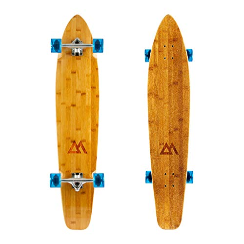 Magneto 44 inch Kicktail Cruiser Longboard Skateboard | Bamboo and Hard Maple Deck | Made for Adults, Teens, and Kids … (Blue)