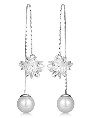 Infinite U Women's Girl's Earrings, 925 Sterling Silver Pearl ear wire, Ice Flower Crystal Threader Long Drops Dangles Pull Through Earrings, Silver, gift for birthday and christmas